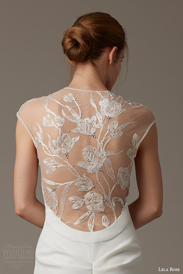 lela rose bridal spring 2016 the parish illusion cap sleeve wedding dress trumpet silhouette embroidery back detail