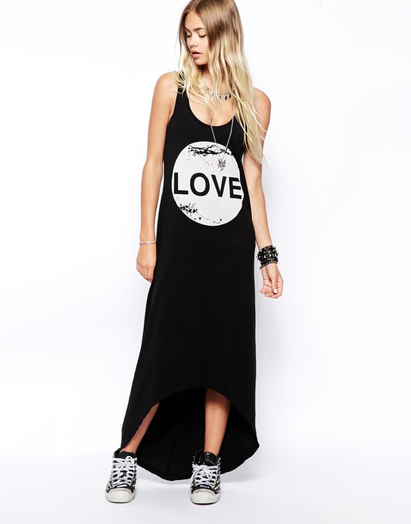 Low-cut scoop loose LOVE letters printed vest dress
