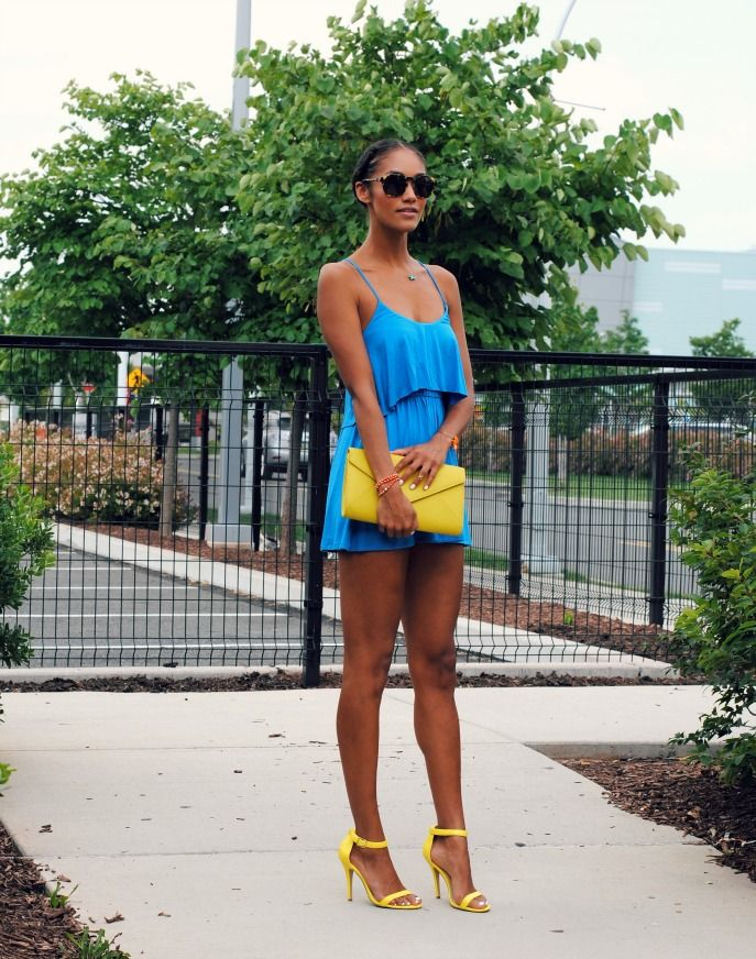 yellow heels and clutch