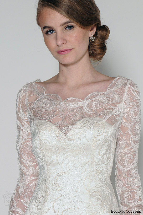 eugenia couture bridal spring 2016 luna illusion neckline long sleeve a line wedding dress close up