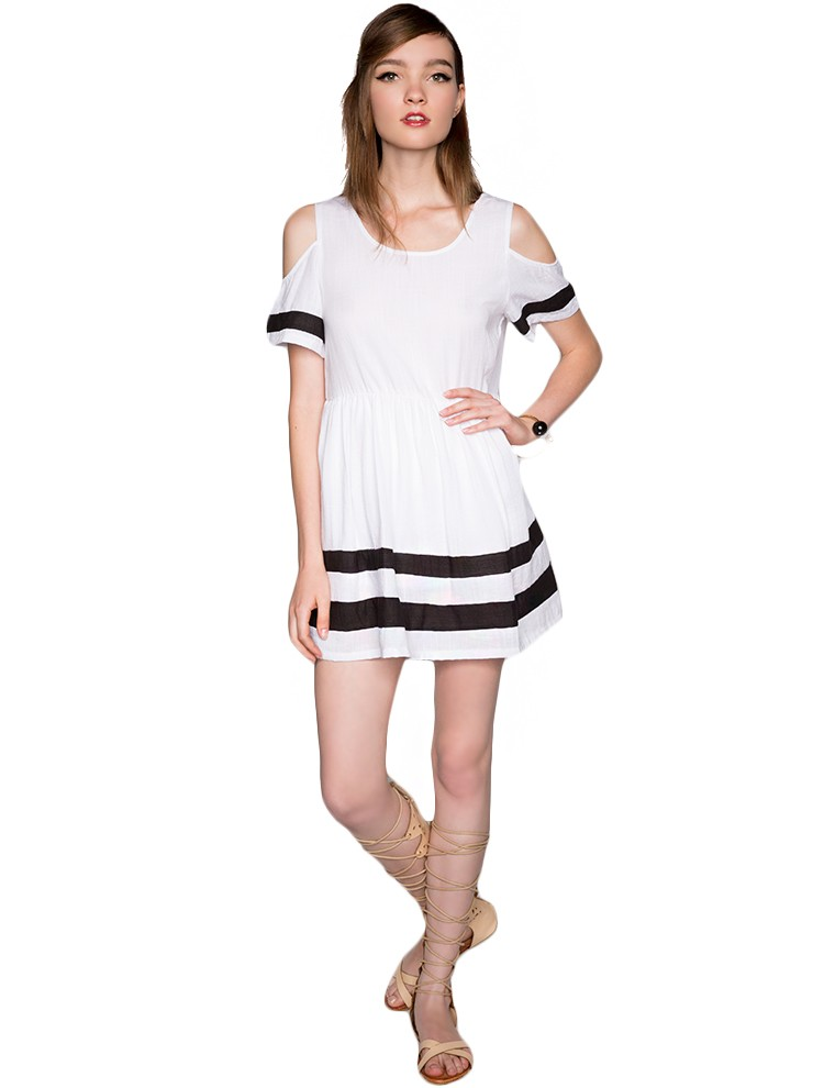 O-neck short-sleeve cutout patchwork stripe slim waist a-line one-piece dress