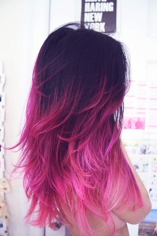 Long Pink Ombre Hairstyle