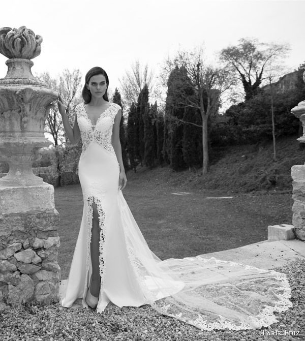 tarik ediz white 2015 jasper cap sleeve wedding dress lace line slit sheer ovelay skirt train