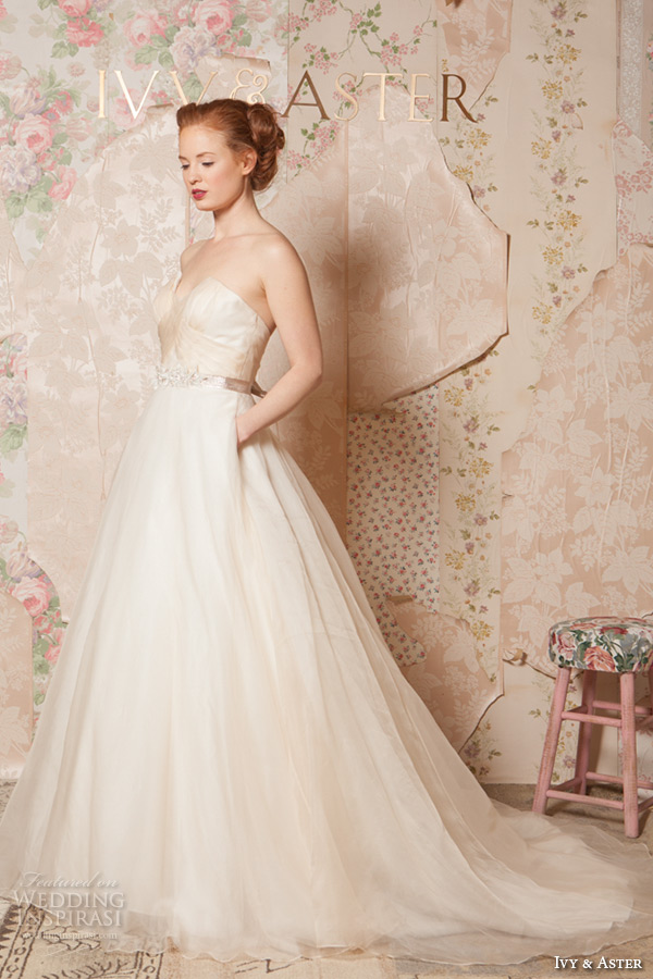 ivy and aster spring 2016 bridal crumb catcher neckline ivory champagne a line wedding dress with pockets