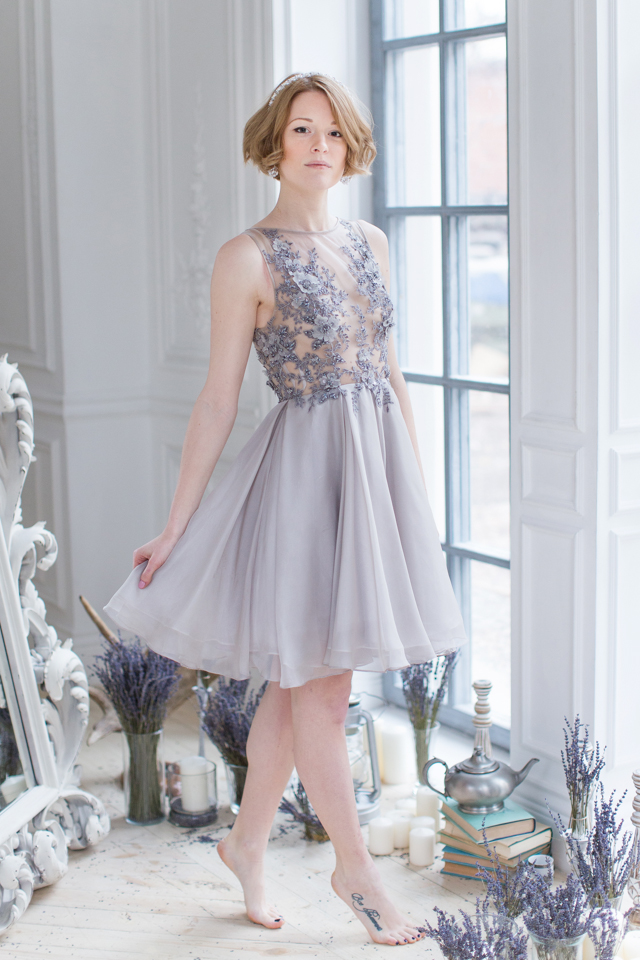 Short lavender dress | Elisaveta Sudarikova | see more on: http://burnettsboards.com/2015/06/lavender-bride/