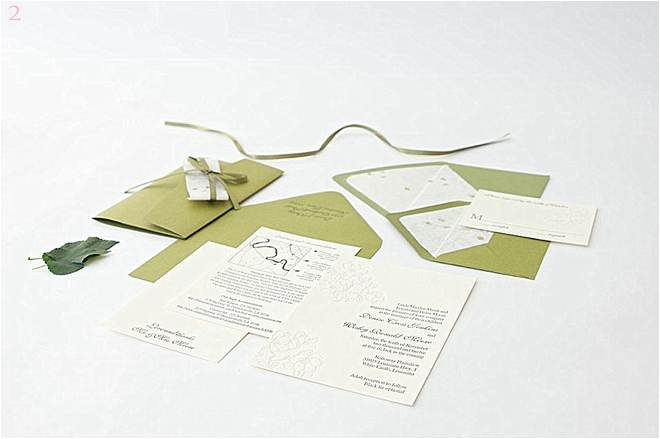 Cream and Green Wedding Invitations