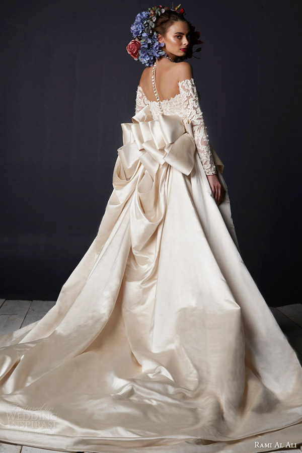 rami al ali bridal 2015 off shoulder lace wedding dress long sleeves ball gown overskirt train back view