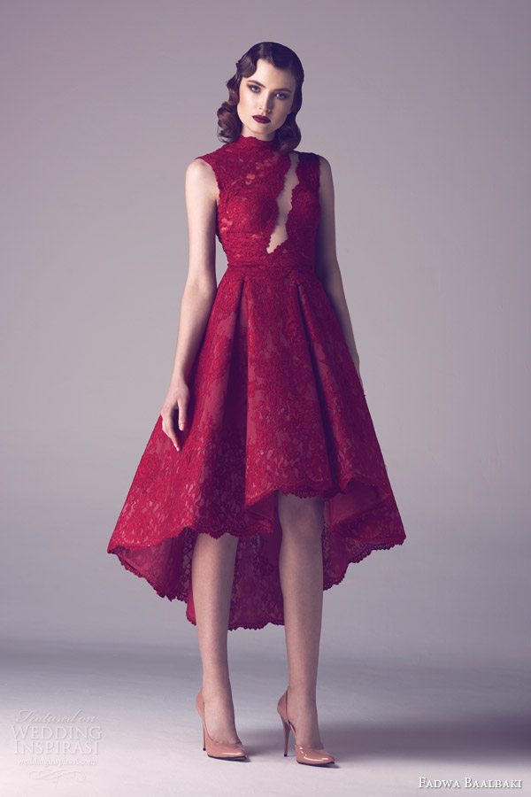 fadwa baalbaki spring 2015 couture sleeveless red lace dress asymmetric skirt