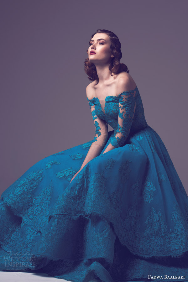 fadwa baalbaki spring 2015 off shoulder lace couture gown tiered lace skirt split bodice side view