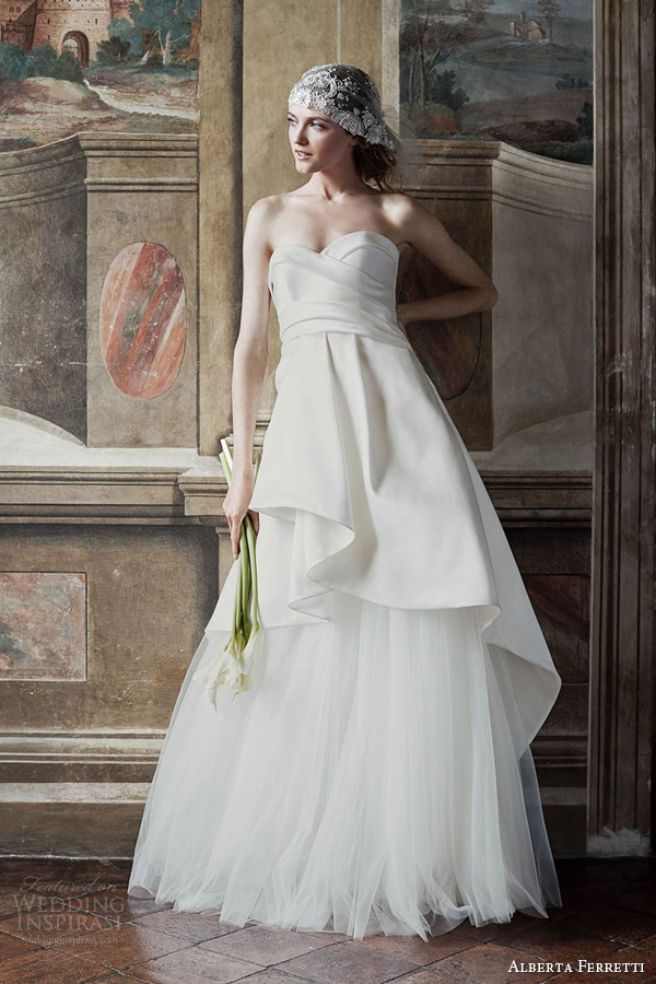 alberta ferretti bridal spring 2016 diana strapless sweetheart surplice bodice peplum overskirt a line wedding dress