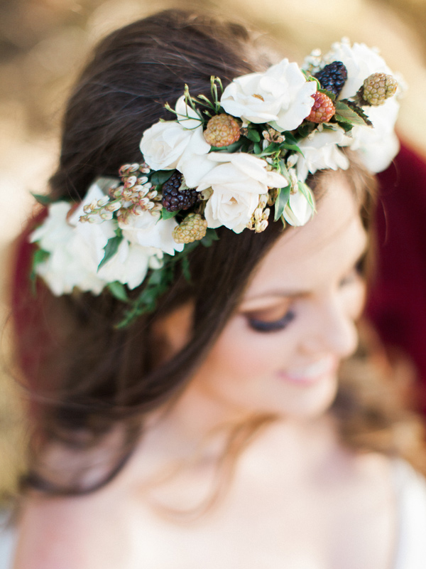 bridal flower crown - photo by Sposto Photography http://ruffledblog.com/countryside-wedding-with-cobalt-blue-and-crimson