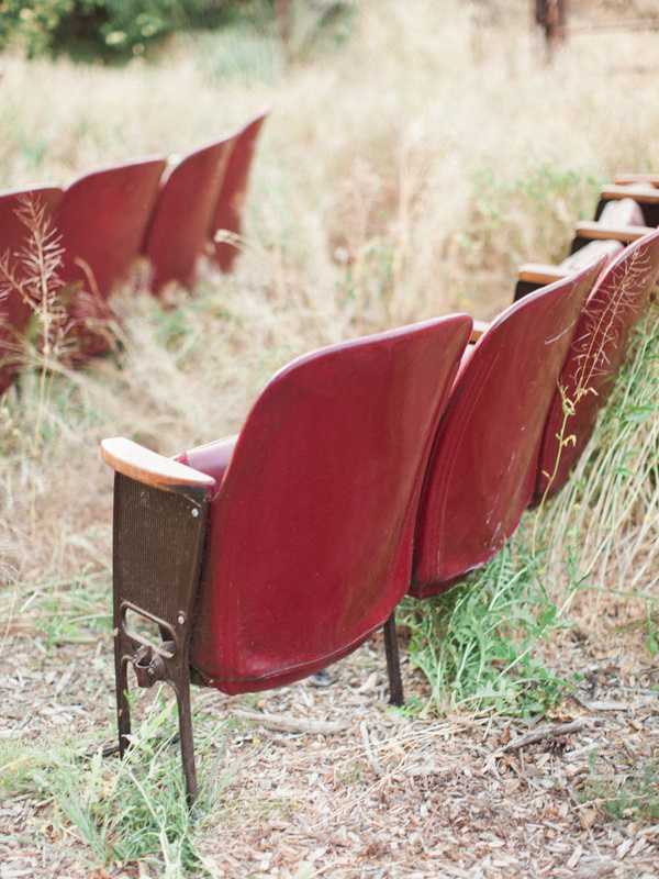 theater ceremony seating - photo by Sposto Photography http://ruffledblog.com/countryside-wedding-with-cobalt-blue-and-crimson