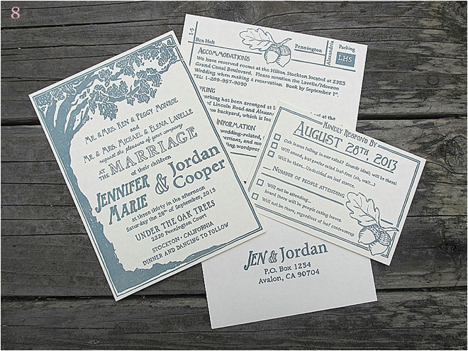Grey Trees Unique Wedding Invitations