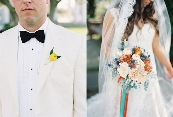 grooms boutonniere - photo by Virgil Bunao http://ruffledblog.com/charleston-wedding-with-loads-of-bright-colors