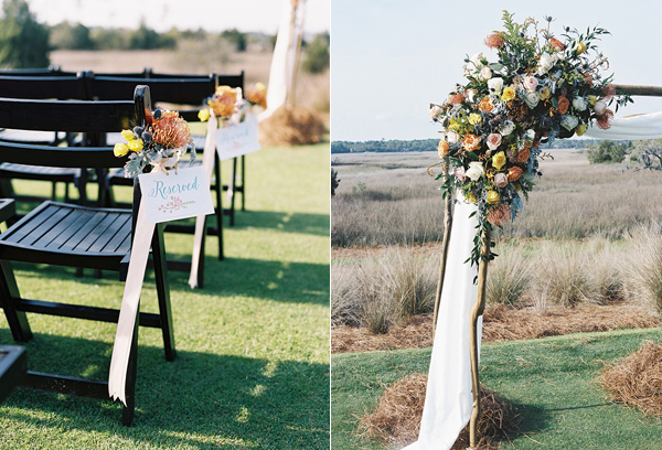 wedding ceremony decor - photo by Virgil Bunao http://ruffledblog.com/charleston-wedding-with-loads-of-bright-colors