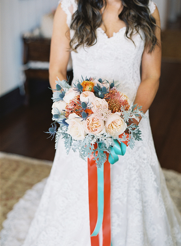 bouquet with bright ribbons - photo by Virgil Bunao http://ruffledblog.com/charleston-wedding-with-loads-of-bright-colors