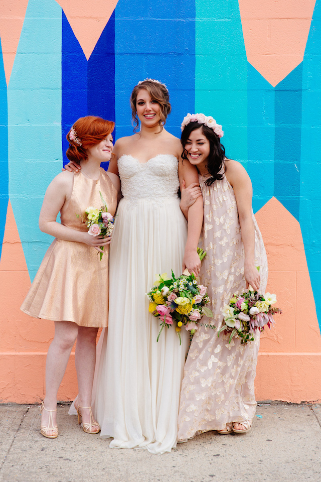 Mismatched bridesmaids dresses | The Melideos + Kerry Ann Stokes | see more on: http://burnettsboards.com/2015/06/vintage-coney-island-wedding/