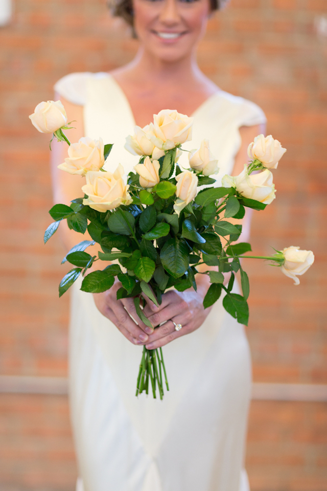 Peach rose bridal bouquet | Cavin Elizabeth Photography | see more on: http://burnettsboards.com/2015/06/modern-wedding-black-white-seafoam/