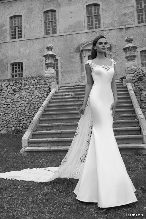 tarik ediz bridal 2015 turmalin cap sleeve wedding dress zoom full