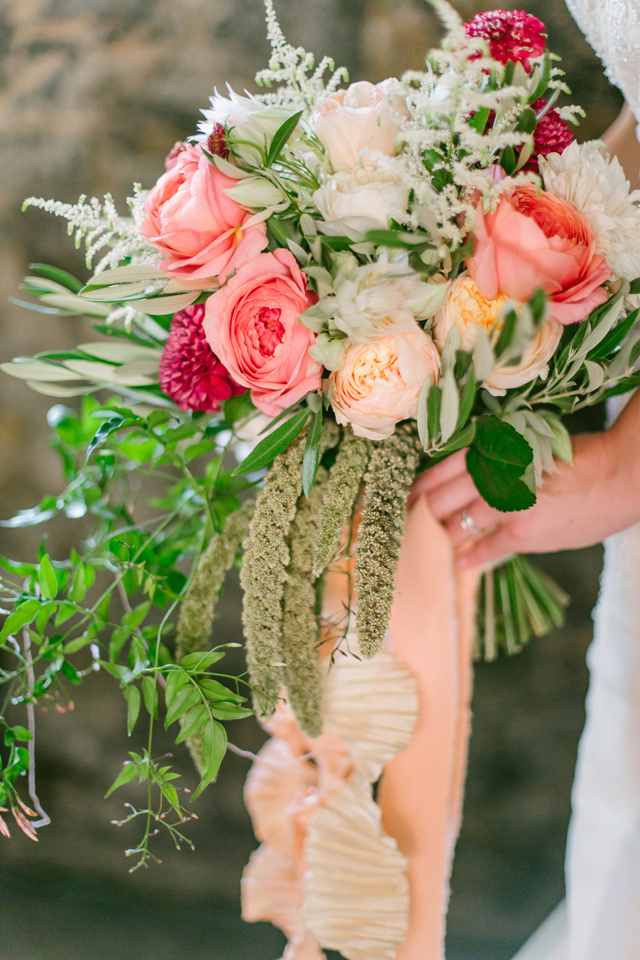 Pink and peach bridal bouquet | Elyse Alexandria Photography | see more on: http://burnettsboards.com/2015/06/wedding-redo/