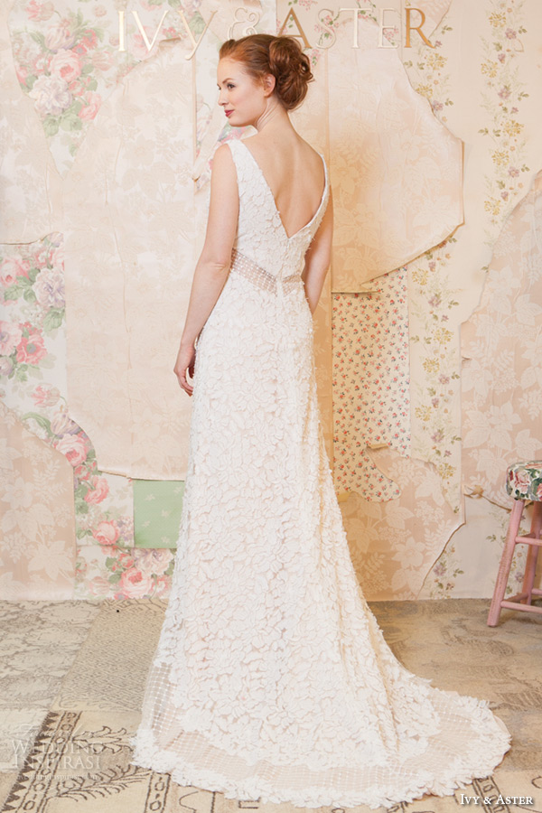 ivy and aster spring 2016 bridal sleeveless strap v neck floral leaf embroidered sheath wedding dress back view