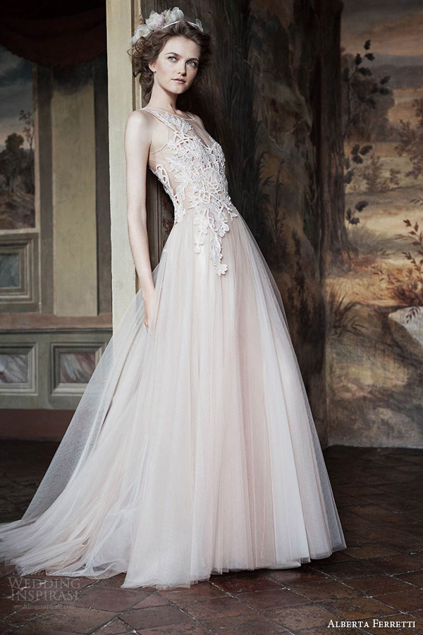 alberta ferretti bridal forever 2016 venera sleeveless blush wedding dress lace bodice illusion neckline