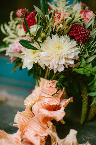 Peach crinkle ribbon | Elyse Alexandria Photography | see more on: http://burnettsboards.com/2015/06/wedding-redo/