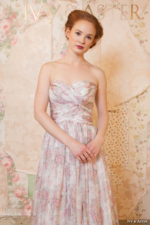 ivy and aster spring 2016 bridal sweetheart neckline strapless pink floral prints a line wedding dress