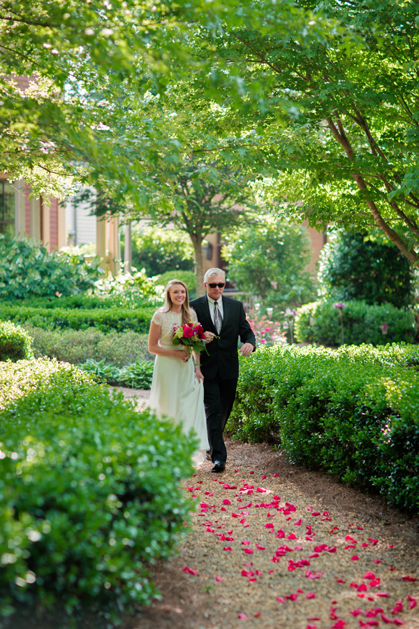 bridal processional - photo by Jonathan and Kaye http://ruffledblog.com/surprise-wedding-for-the-groom-in-atlanta