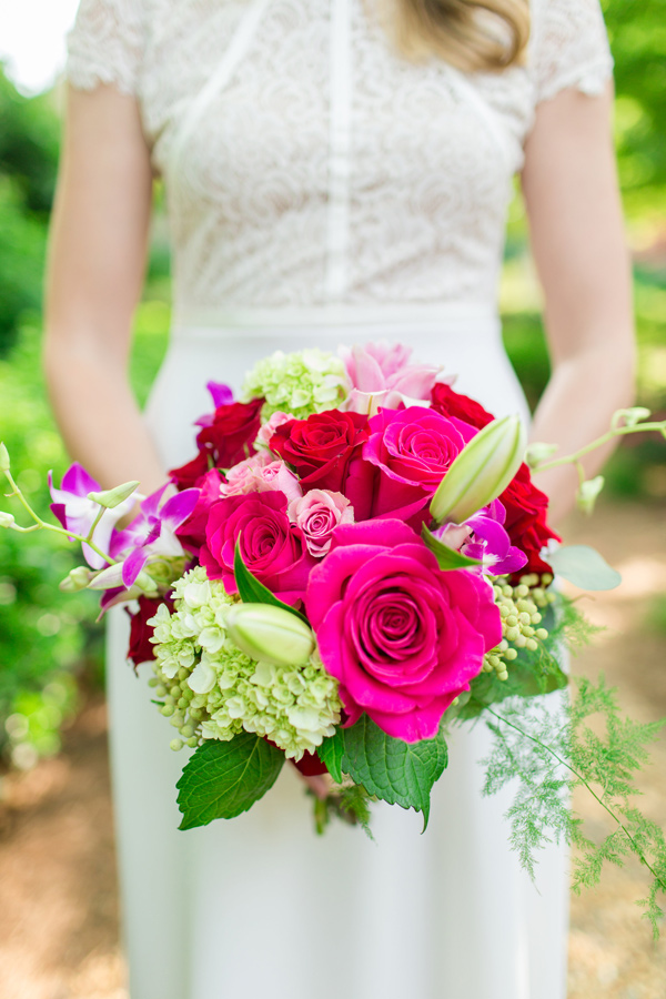 fuchsia rose bouquet - photo by Jonathan and Kaye http://ruffledblog.com/surprise-wedding-for-the-groom-in-atlanta