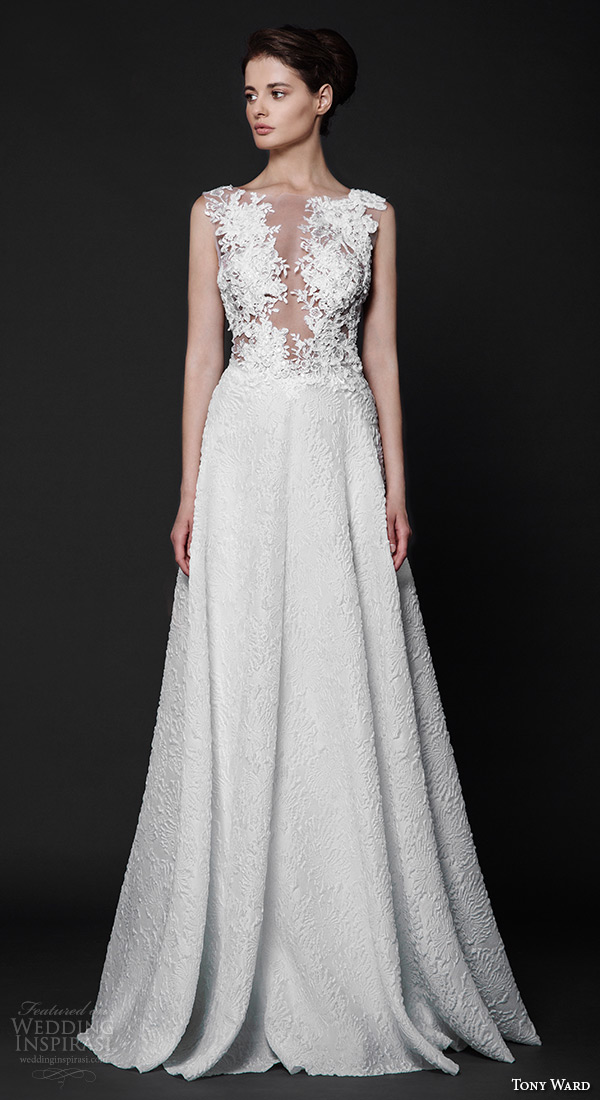 tony ward 2016 bridal sleeveless plunging neckline lace embroidery modified a line wedding dress