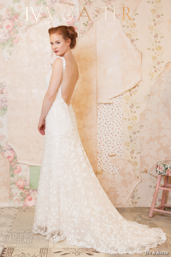 ivy and aster spring 2016 bridal square neckline strap floral lace embroidery sheath wedding dress side back view