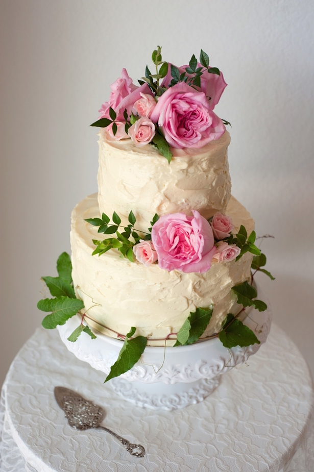 Wedding Cake with Pink Garden Roses ~ Jill Lauren Photography