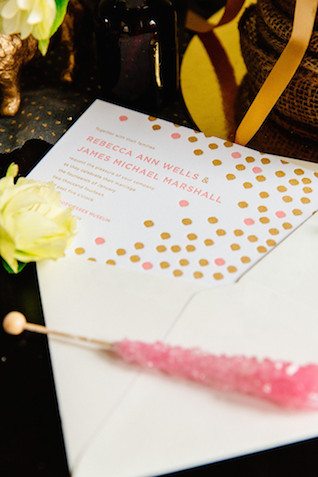 Confetti wedding invitations | The Melideos + Kerry Ann Stokes | see more on: http://burnettsboards.com/2015/06/vintage-coney-island-wedding/