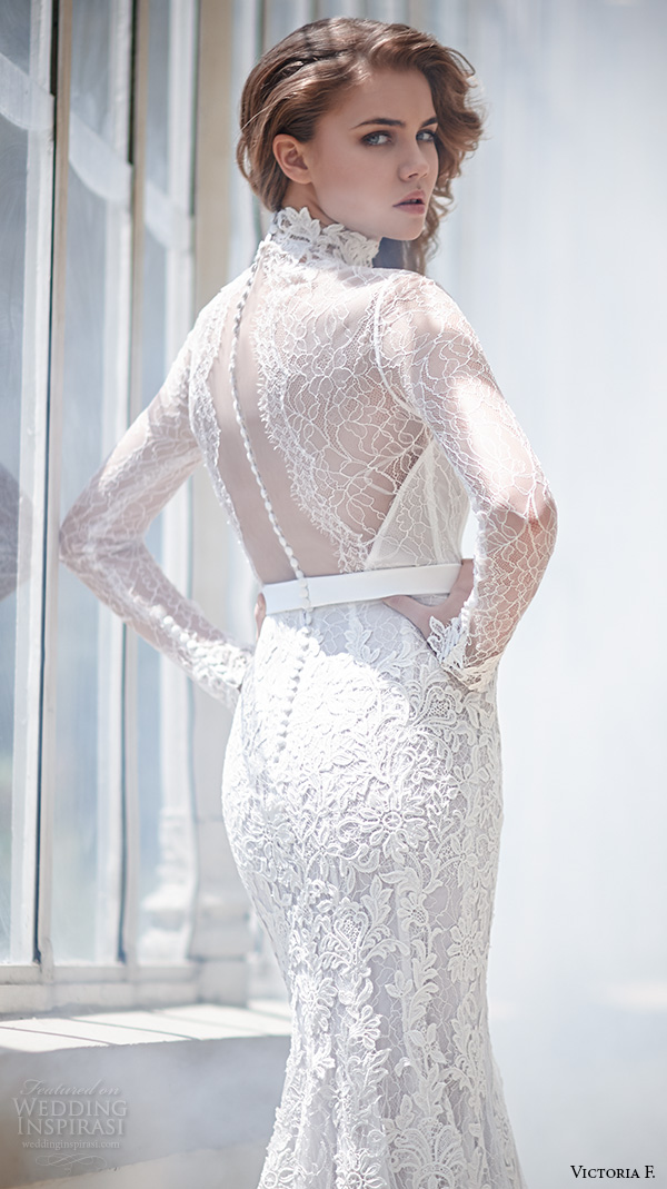 victoria f 2016 bridal high neck lace sheer long sleeves sheath wedding dress back view closeup