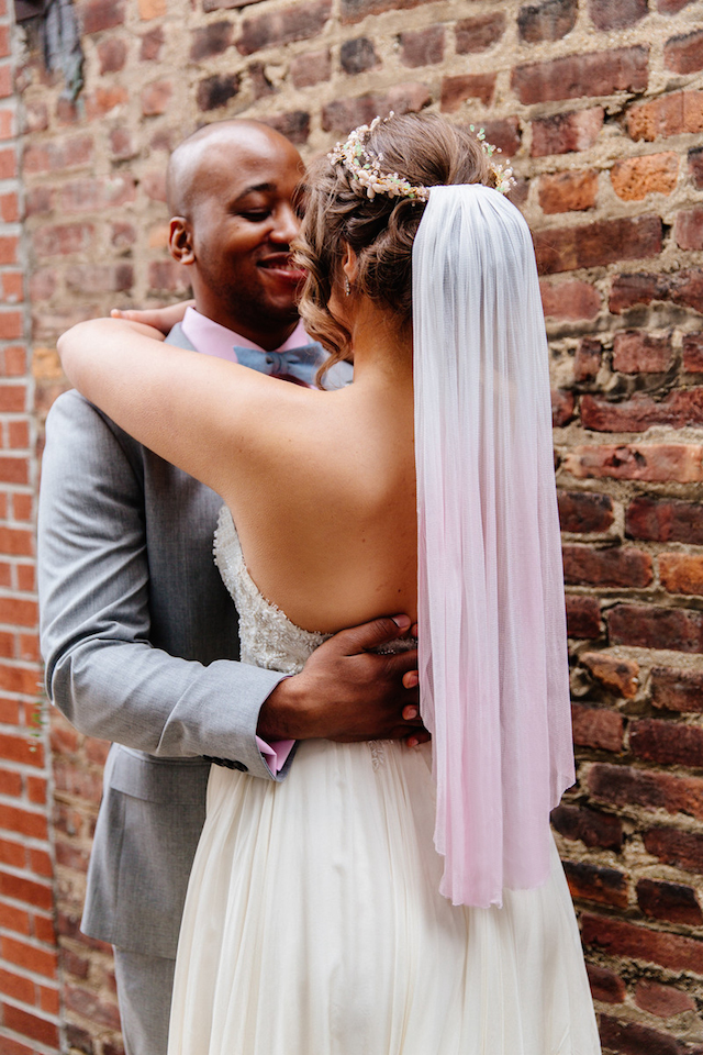 Pink ombre wedding veil | The Melideos + Kerry Ann Stokes | see more on: http://burnettsboards.com/2015/06/vintage-coney-island-wedding/
