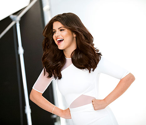 A behind-the-scenes shot of Selena Gomez posing at her first Pantene photo shoot.