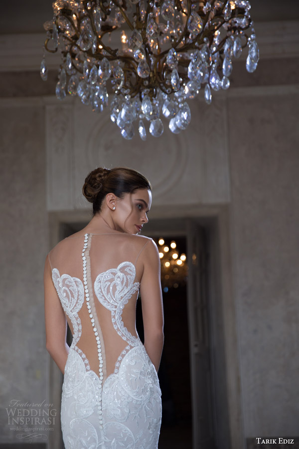 tarik ediz white 2015 radonit strapless sweetheart sheath wedding dress close up bodice back view