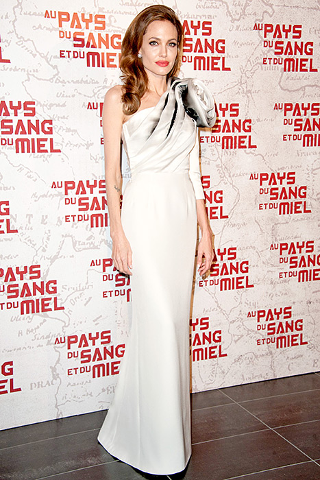 Angelina Jolie attends 'In the Land Of Blood And Honey' Pairs premiere on February 16, 2012 in Paris, France.