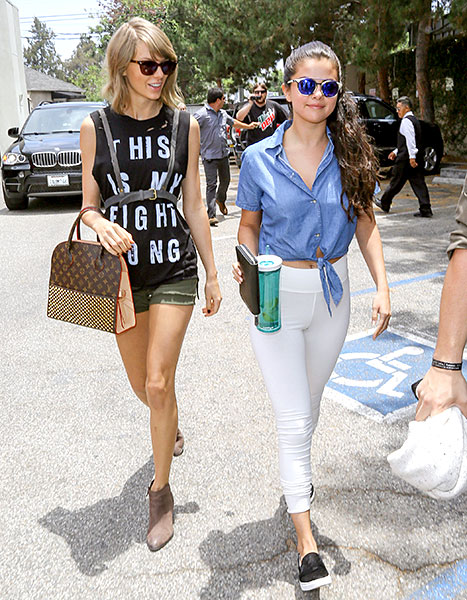 Taylor Swift and Selena Gomez are seen in Hollywood on June 16, 2015 in Los Angeles, California.