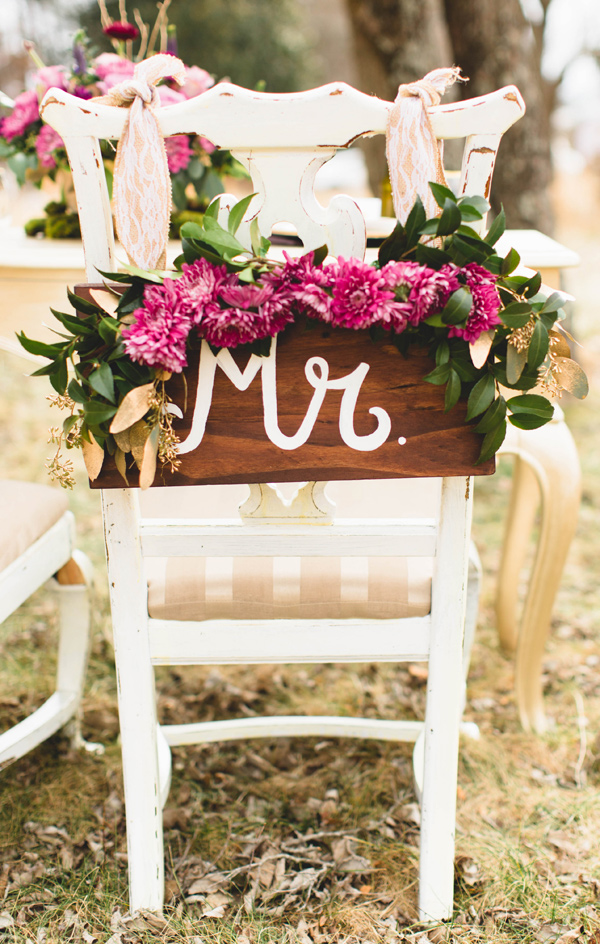 wedding chair signs - photo by Erika Lynn Photography http://ruffledblog.com/berry-toned-spring-wedding-editorial