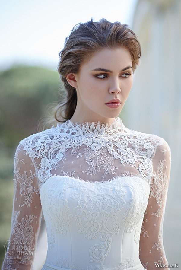 victoria f 2016 bridal high neck lace illusion neckline long sleeves sheath wedding dress closeup