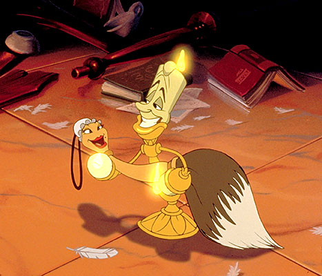 Lumiere attempts to seduce his feather-dusting love in Beauty and the Beast.
