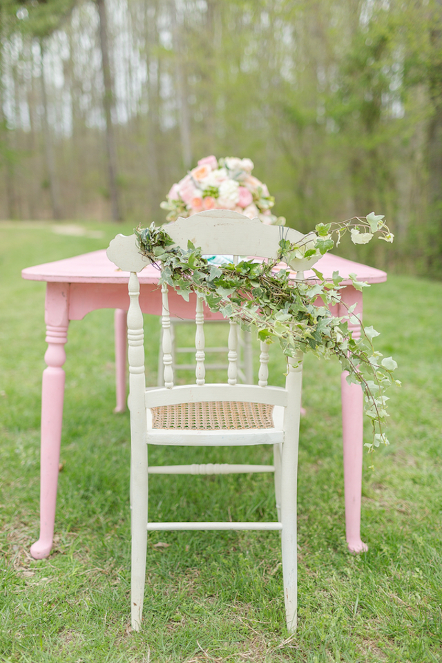 Pink and green wedding chair decor | Jessica Green Photography | see more on: http://burnettsboards.com/2015/06/sweet-simple-summer-wedding/