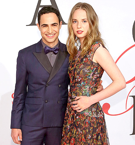 Zac Posen and Maya Thurman-Hawke attend the 2015 CFDA Awards at Alice Tully Hall at Lincoln Center on June 1, 2015 in New York City.