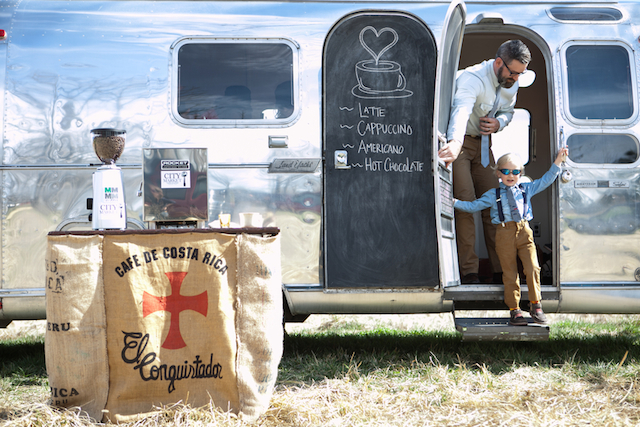 Airstream coffee station | Cornerstone Photography| see more on: http://burnettsboards.com/2015/06/geodes-feathers-airstream/