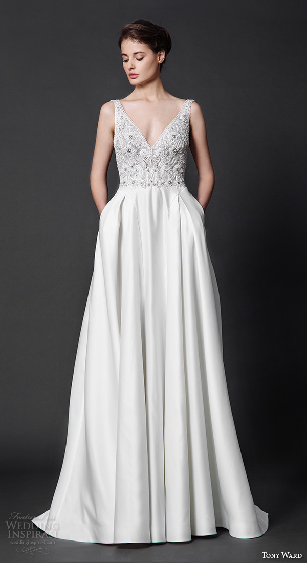 tony ward 2016 bridal v neck with straps modified a line wedding dress with pockets scarlet