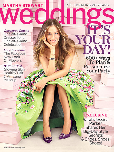 Sarah Jessica Parker on the Summer 2015 cover of Martha Stewart Weddings.