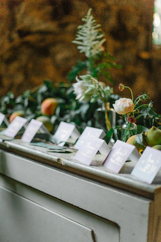 Calligraphy escort cards | Elyse Alexandria Photography | see more on: http://burnettsboards.com/2015/06/wedding-redo/