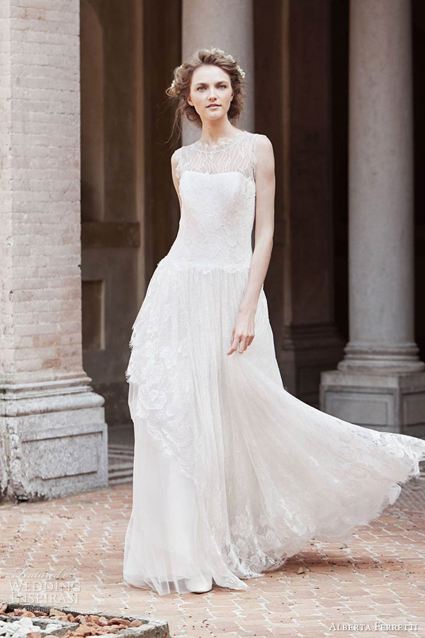 alberta ferretti bridal spring 2016 opi sleeveless wedding dress illusion neckline lace overlay